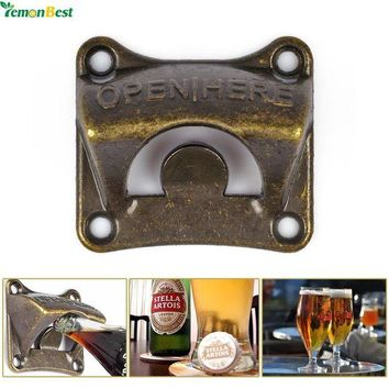 ONETOW 1Pcs Vintage Antique Iron Wall Mounted Bar Beer Glass Bottle Cap Opener Kitchen Tools Bottle Opener Beer Opener With 4 Srews