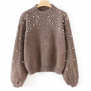 Autumn And Winter Fashion New More Pearl Long Sleeve Top Sweater Women Khaki