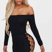 Shape Black Lace Up Detail Bardot Bodycon Dress