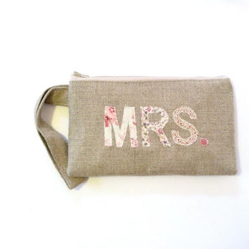 Mrs. Personalized Wristlet Pink Rose Vintage Fabrics - Bridal Clutch Zipper Pouch - Bride to Be Gift