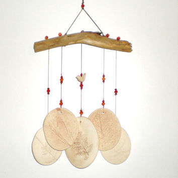 Wind Chime: Driftwood and ceramic beach style
