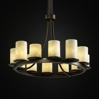 Justice Design Group CLD-8763-10-DBRZ Clouds Dakota Twelve-Light Tall Ring Chandelier