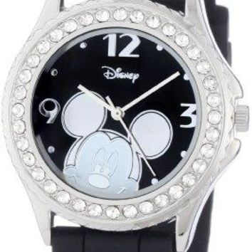 Disney Womens MK1094 RhinestoneAccented Mickey Mouse Watch with Black Rubber Band