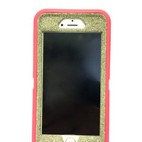 iPhone 6 (4.7 inch) OtterBox Defender Series Case Glitter Cute Sparkly Bling Defender Series Custom Case Pink / white gold