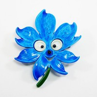 Animated Flower Power Brooch, Googly Eyed Silly Shaggy Flower Pin, Royal Blue Enamel Flower, MOD Floral Jewelry Vintage 1960s 1970s Flowers