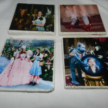 Dorothy Wizard of Oz Classic Movie Tile Drink Coasters Handmade