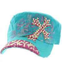 Rhinestone Bling Hat Cute Cheetah Zebra Designer Fashion Turquoise Hot Pink Gold Cadet Cap Embroidered Cross