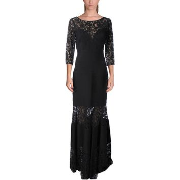 Tadashi Shoji Womens Lace Mixed Media Evening Dress