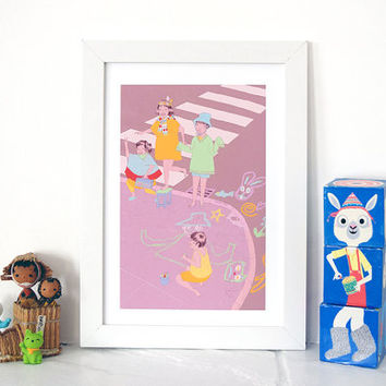 YUK FUN Chalky Kids Art print, illustration print, nursery print, kids room print, kids wall art, A3 print, A4 print, original artwork,