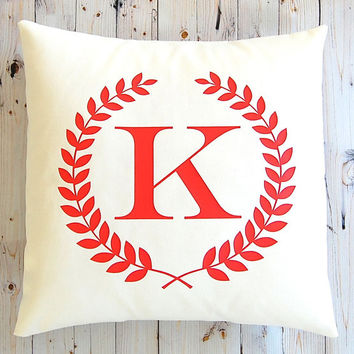 Monogram Pillow, Personalized Gift, Monogram Pillow Cover, Throw Pillow Cover, Wedding Gift, Holiday Decor, Decorative Pillow, Dorm Decor,