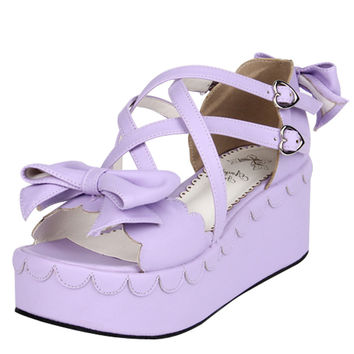 Custom-made Big size 34-44, 3cm-7cm-8cm-10cm heels Women Cross strap lolita Sandals Open Toe Summer Shoes Bowtie Sandals