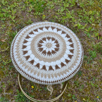 Crochet Mandala Stool Cover on Vintage Brass Stool Vanity Beige Brown Neutral Handmade Upcycle Recycle Littlestsister