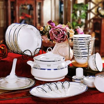 Jingdezhen pottery bowl set 56 authentic bone china tableware dishes set housewarming gift set