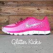 Women's Nike Free 5.0 V4 Print Running Shoes By Glitter Kicks - Customized With Swarovski Crystal Rhinestones - Bright Pink/White