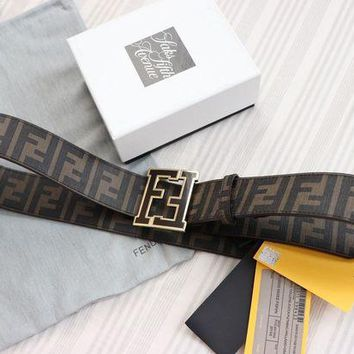 Gotopfashion NEW Auth Fendi College FF Belt COFFEE BROWN 120/48 42-44 waist