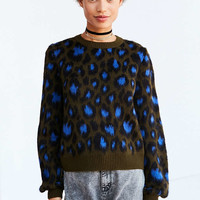 Ecote Brushed Leopard Crew-Neck Sweater - Urban Outfitters