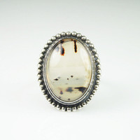 Vintage Art Deco Sterling Silver Moss Agate Ring