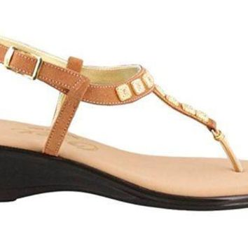 MDIGYW3 Onex Sprinkles Tan Suede Low Heel Sandals