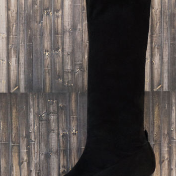 ROBERT CLERGERIE Suede Stretch Knee Boots, 37.5/7