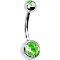 Austrian Crystal Peridot DOUBLE GEM Belly Ring | Body Candy Body Jewelry