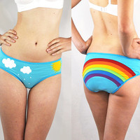 Rainbow hipster panties with clouds, rain and sun lingerie underwear