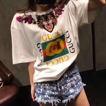 GUCCI Women Man Fashion Tiger Embroidery Short Sleeve Tunic Shirt Top Blouse