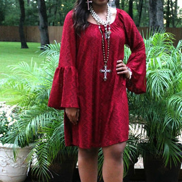 Lace The Facts Dress in Maroon
