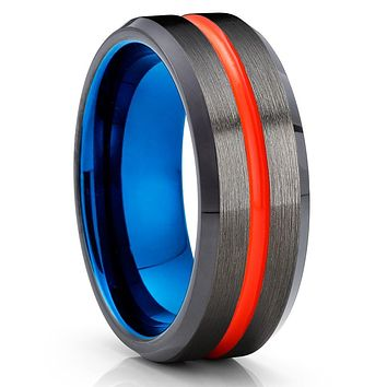 Orange Tungsten Ring - Gunmetal -  Blue Tungsten Wedding Band  - Brush