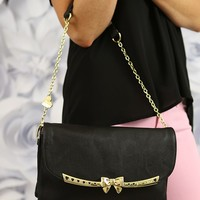 My Fair Lady Clutch in Black by Betsey Johnson