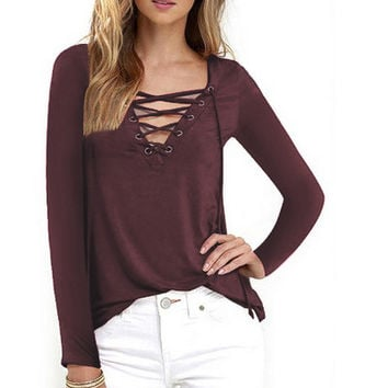 Autumn T-shirt Women V-neck Fashion Tee Shirt Femme Lace-up Long Sleeve Casual Ladies Tops Solid Women Clothing LJ5241T