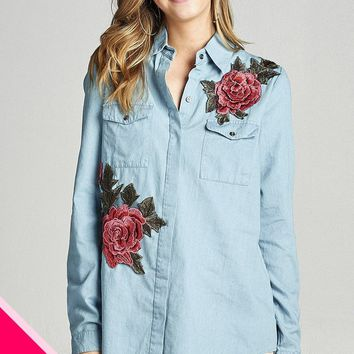 Plus size 3/4 roll up sleeve hidden buttons tunic chambray shirts w/rose patched