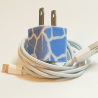 IPhone 5 Charger Embellished with Blue Giraffe by PersonalPower