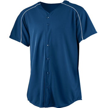 Augusta 583Wicking Button Front Baseball Jersey-Youth - Navy White