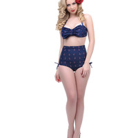 Unique Vintage Navy & Red Anchor Print High Waist Scrunch Lamour Swim Bottoms