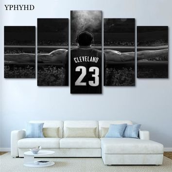 YPHYHD Wall Art Modern Painting NBA Lebron James Canvas Painting Print Poster Decor Room 5 Pieces Modular Wall Paintings Picture