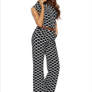 Plus Size Geo Casual Sleeveless Wide Leg Playsuit Jumpsuit Overall Romper W Belt