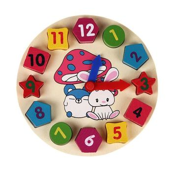 DCCKL72 Wooden 12 Number Colorful Puzzle Digital Geometry Clock Baby Educational Wooden Clock Toy Kids Children Toys Gifts
