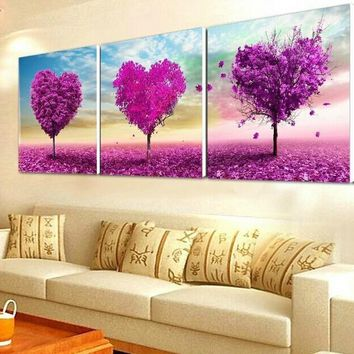 Love Tree Landscape Flower DMC Set Cross Stitch Kits Art Crafts Accurate Printed Embroidery DIY Handmade Needle Work Home Decor