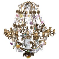 "Louis XV Gilt Bronze with ""C Couronné"" and Meissen Porcelain Chandelier"
