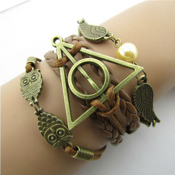1pc Multilayer Deathly Hallows Braided Bracelets Vintage Owl Harry Potter Wings Infinity Bracelet & Bangle Best Gift