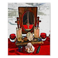 Magic Altar Candles Skull Photography Art Poster