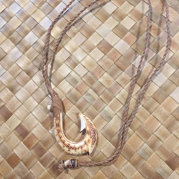 Burnt Bone Fish Hook Necklace