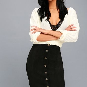 Rigby Black Suede Button-Up Pencil Skirt