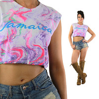 Jamaica shirt Vintage 1980s Pink Purple ombre tank top Abstract Tie Dye neon sleeveless graphic cropped tee Large