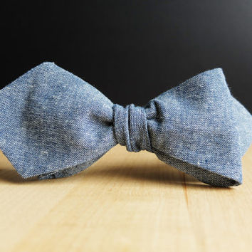 Men's Bow Tie by BartekDesign: self tie blue jeans point slim line diamond point bowtie wedding grooms