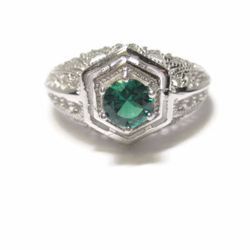 Emerald Engagement Ring Sterling Size 7 Vintage Antique Reproduction .50 Carat