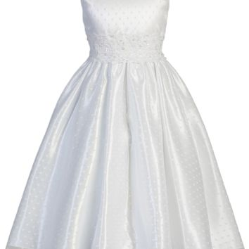 Polka-Dot Tulle Girls Plus Size Communion Dress w. Lace Trim 12x-18x