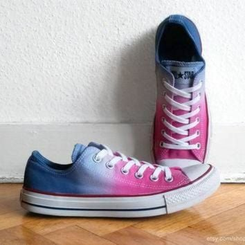 CREYON hot pink ocean blue ombre converse all stars dip dye upcycled sneakers chucks eu