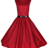 Lindy Bop Classy Vintage Audrey Hepburn Style 1950's Rockabilly Swing Evening Dress (XL, Red)