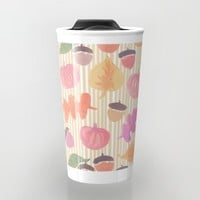 Fall Mix and Stripes Travel Mug by Lisa Argyropoulos